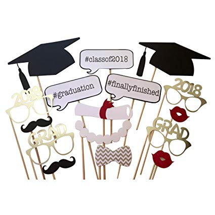 Graduation 2018 party clipart image download LUOEM 2018 Graduation Photo Booth Props on a Stick Class of 2018 Graduation  Posing Props Graduation Party Decorations, Pack of 17 image download