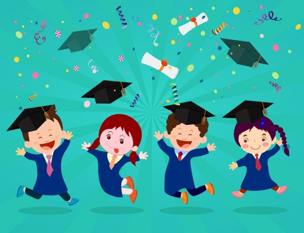 Graduation background clipart graphic freeuse stock Graduation background joyful kids icons colored cartoon desgin Free ... graphic freeuse stock