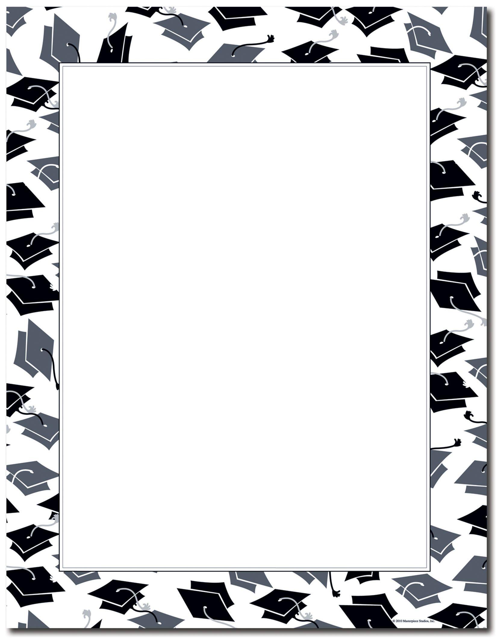 Graduation borders clipart clip black and white stock free printable graduation paper | Mortar Hat Border Letterhead ... clip black and white stock