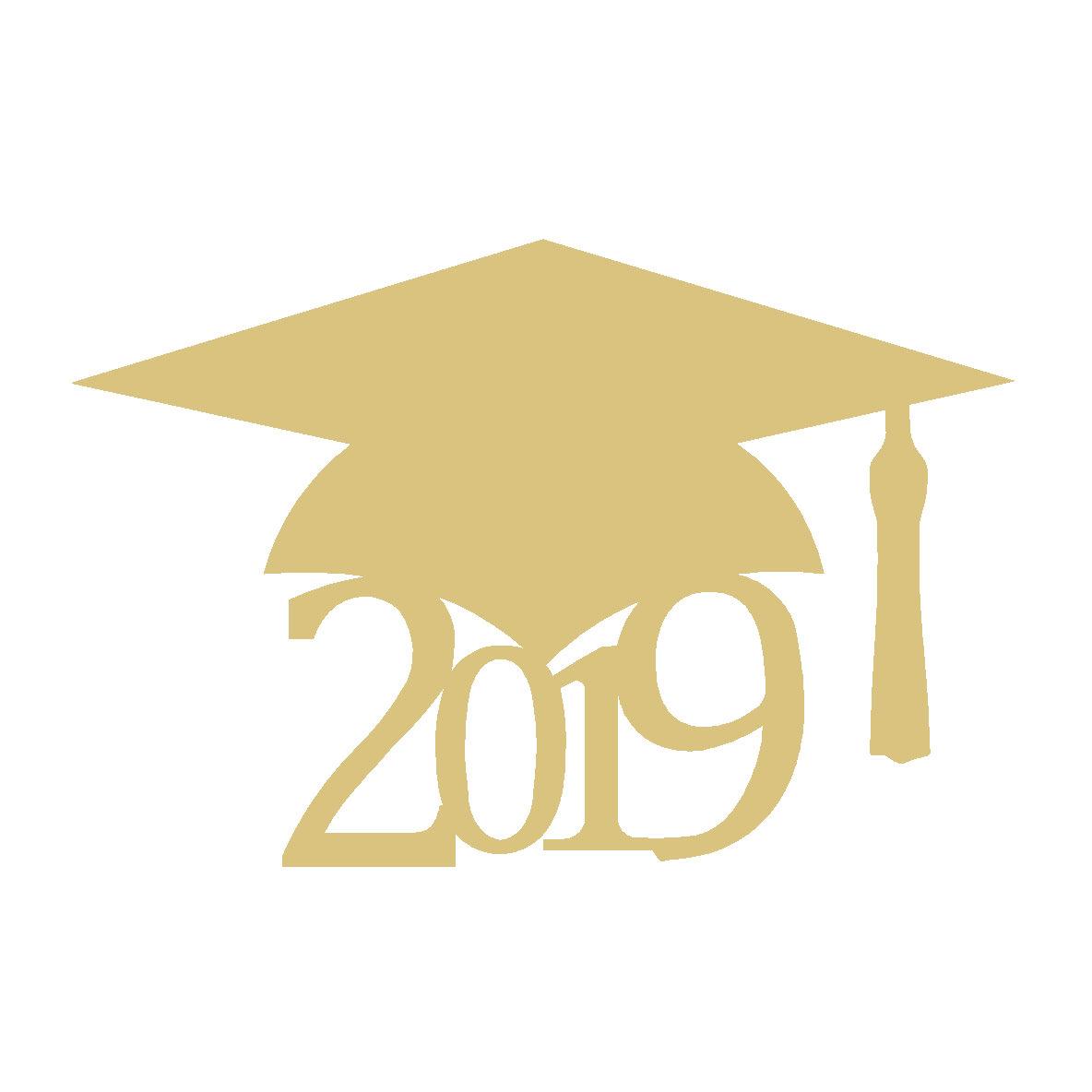Graduation Cap 2019 Cutout Style 1 clip black and white stock