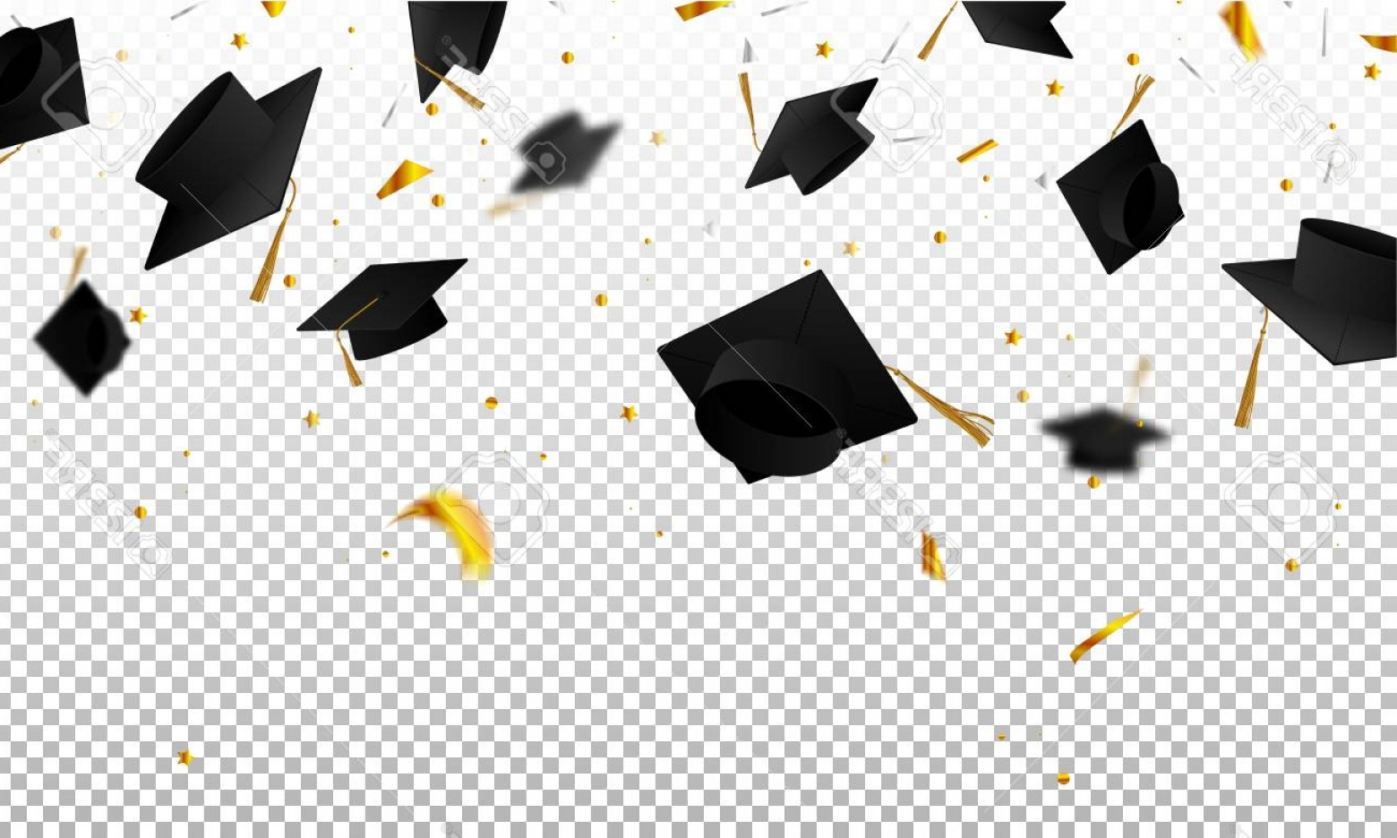 Graduation clipart background image download Photostock Vector Graduate Caps And Confetti On A Transparent ... image download