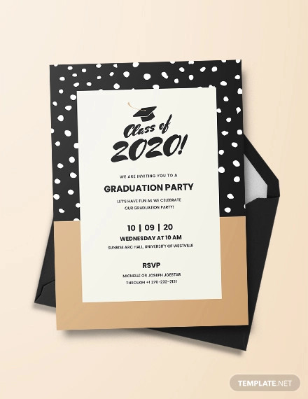 48+ Sample Graduation Invitation Designs & Templates - PSD, AI, Word ... jpg black and white stock