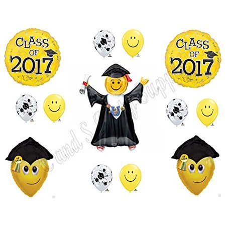 Smiley face graduation clipart picture stock CLASS OF 2017 SMILEY Face Jumping Yellow Graduation Party Balloons ... picture stock