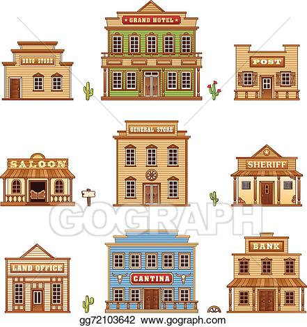 Grand hotel clipart image black and white library EPS Vector - Wild west buildings. Stock Clipart Illustration ... image black and white library