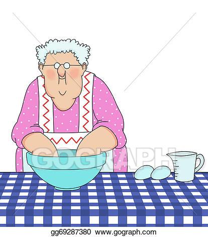 Grandma baking clipart clip art black and white Clipart - Grandma baking. Stock Illustration gg69287380 - GoGraph clip art black and white