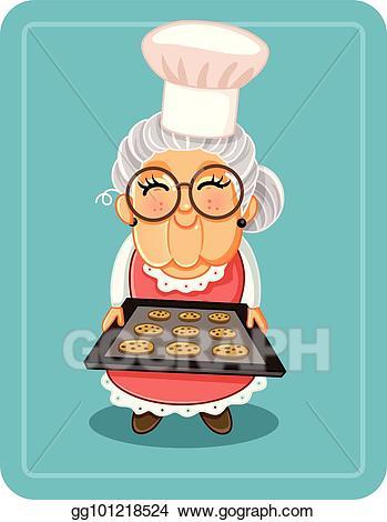 Grandma baking clipart clip royalty free EPS Illustration - Grandma baking chocolate chips cookies vector ... clip royalty free