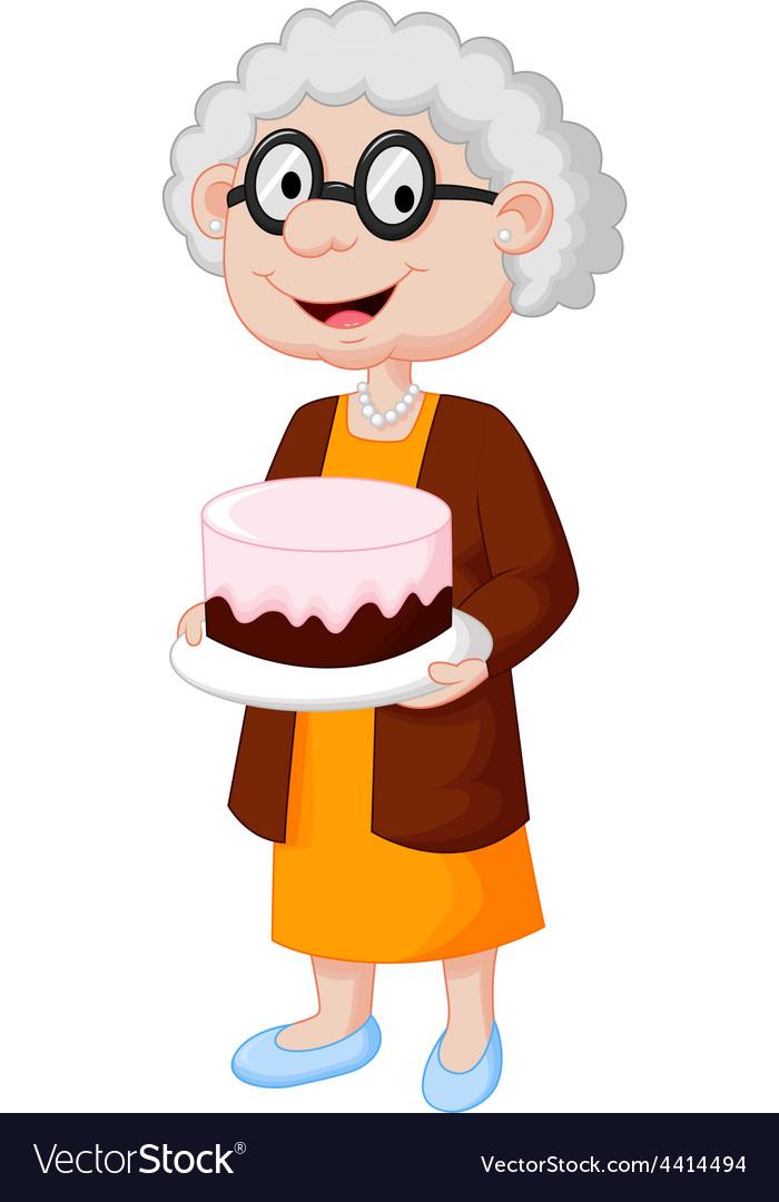 Grandma birthday clipart jpg royalty free download Grandmother with birthday cake jpg royalty free download