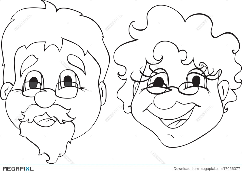 Grandma face clipart black and white svg transparent library Grandpa And Grandma Illustration 17036377 - Megapixl svg transparent library