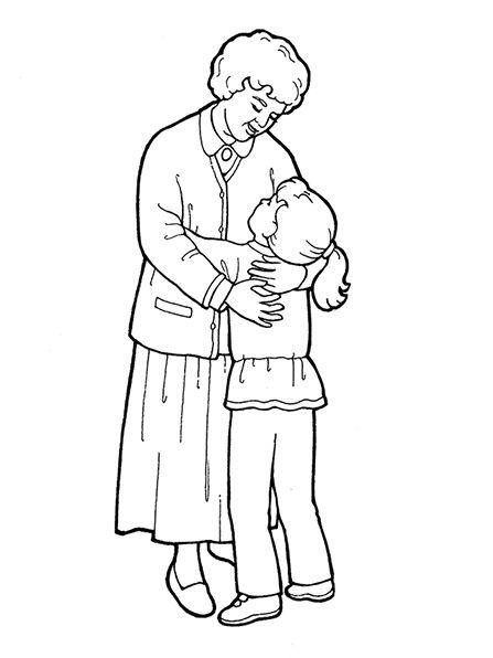 Grandma hugging grandchildren clipart black and white vector black and white A black-and-white illustration of a grandmother wearing a dress and ... vector black and white