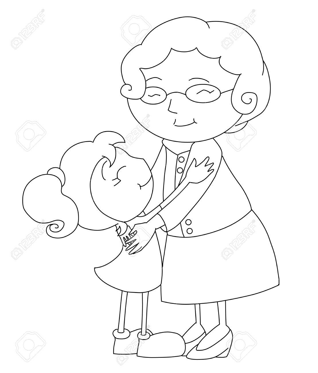 Grandma hugging grandchildren clipart black and white vector stock Grandma paintings search result at PaintingValley.com vector stock