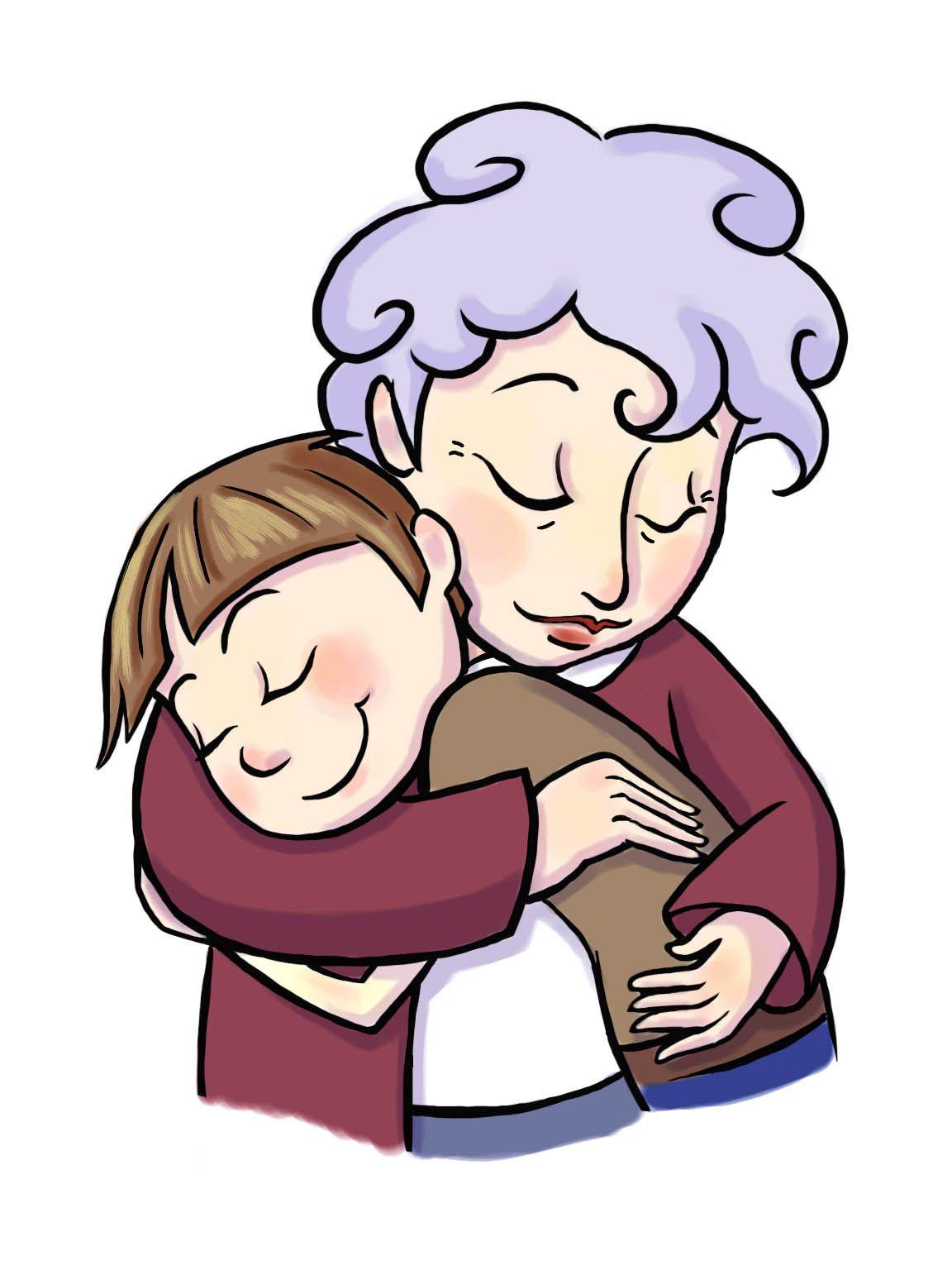 Grandma hugging grandchildren clipart black and white clip art black and white download Cartoon Grandma And Granddaughter Clipart - Clipart Kid | Creatives ... clip art black and white download