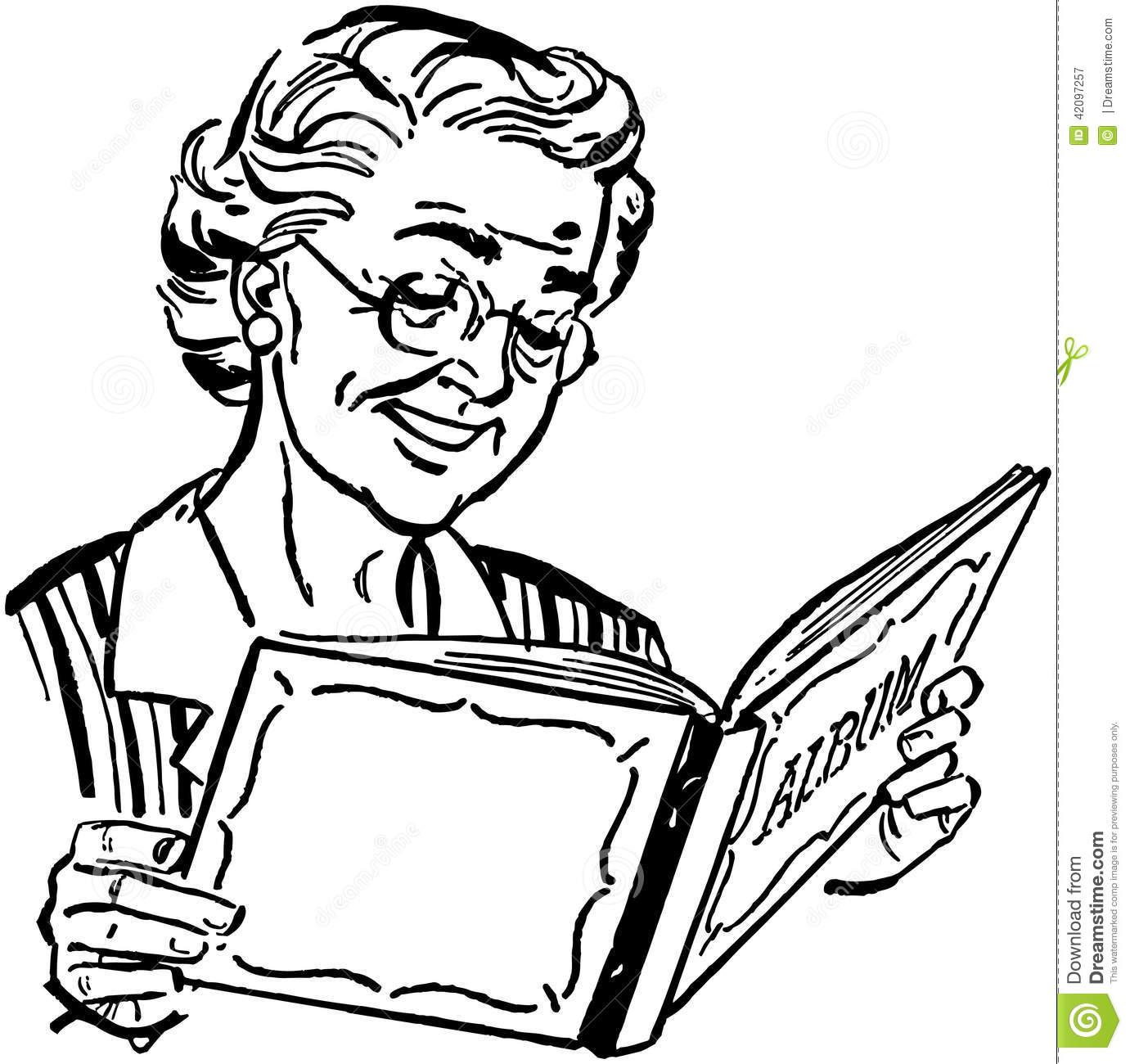 Grandma reading clipart clip black and white Grandma clipart black and white 9 » Clipart Station clip black and white