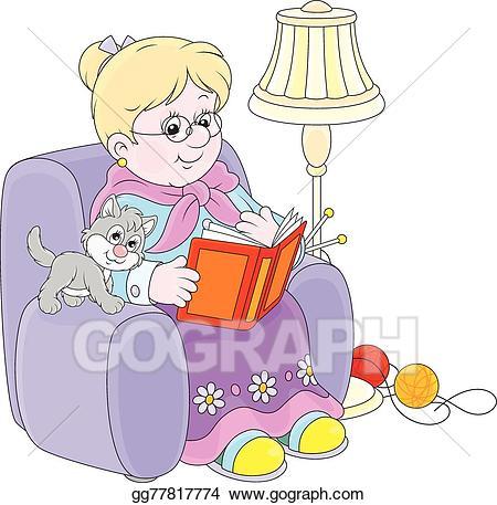 Grandma reading clipart image royalty free stock Vector Stock - Granny reading. Clipart Illustration gg77817774 - GoGraph image royalty free stock