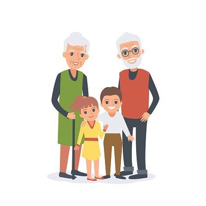 Grandparents with grandchildren clipart clip freeuse stock Grandparents With Grandchildren premium clipart - ClipartLogo.com clip freeuse stock