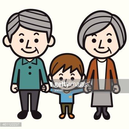 Grandson clipart black and white stock Grandparents and Grandson premium clipart - ClipartLogo.com black and white stock