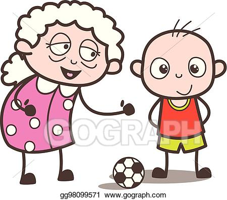 Grandson clipart svg library EPS Vector - Cartoon granny playing soccer with grandson vector ... svg library