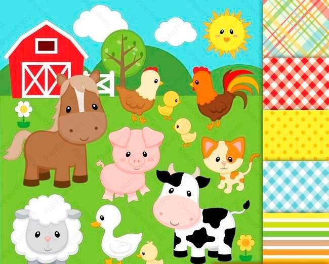 Granja clipart vector transparent Kit Imprimible Animales De La Granja 26 Clipart - 6 Fondos vector transparent
