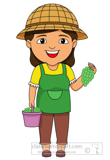 Grape farmer clipart clipart freeuse stock Agriculture Clipart Farm Girl Collecting Grapes In Bucket - Free Clipart clipart freeuse stock
