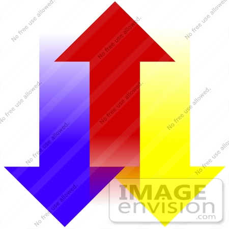 Graphic arrow down clipart clip transparent stock Clip Art Graphic of Blue And Yellow Arrows Pointing Down On The ... clip transparent stock