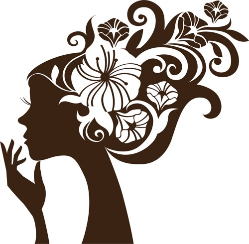 Graphic art flower jpg black and white library Girl with Flowers in Hair Wall Vinyl Decal art graphic flower ... jpg black and white library