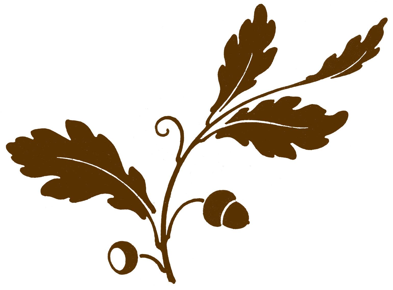 Graphic clip svg free Antique Clip Art - Oak Leaf & Acorns - Silhouette - The Graphics Fairy svg free
