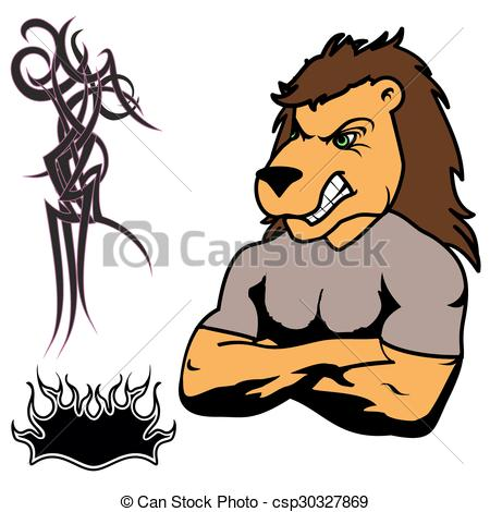 Graphic clipart lion angry graphic freeuse Clip Art Vector of angry lion muscle cartoon set - angry lion ... graphic freeuse