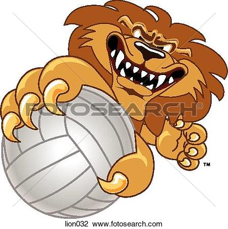Graphic clipart lion angry jpg library download Clip Art of Lion holding Volleyball with angry face lion032 ... jpg library download