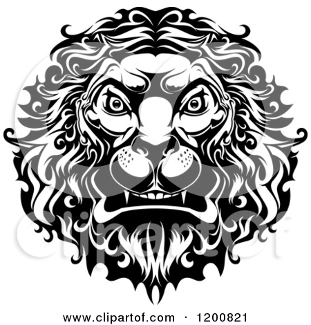 Graphic clipart lion angry png black and white library Clipart of Black and White and Orange Angry Lion Heads - Royalty ... png black and white library