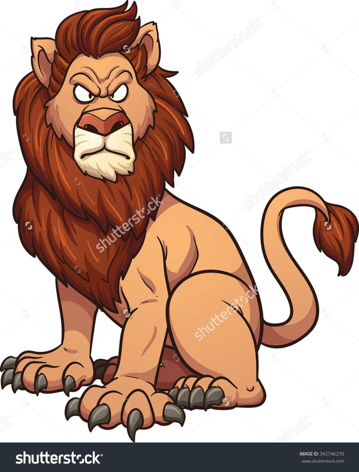 Graphic clipart lion angry svg Angry Cartoon Lion Vector Clip Art Stock Vector 342746270 ... svg