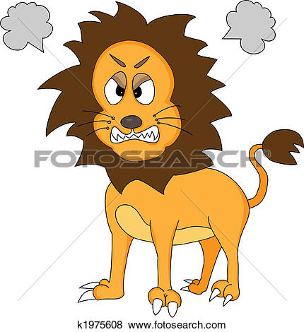 Graphic clipart lion angry clip art black and white download Clip Art of Cute Angry Lion k1975608 - Search Clipart ... clip art black and white download