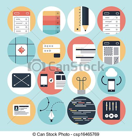 Graphic design clipart image freeuse stock Clip Art Vector of Modern web development and graphic design icons ... image freeuse stock