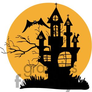 Graphic factory clip art svg free Clipart of silhouette of a haunted house. | 383500 | Royalty-Free ... svg free