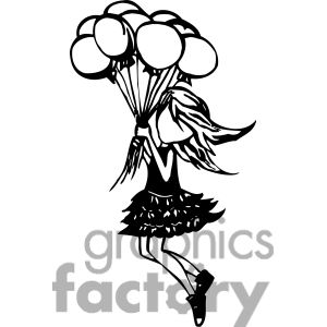 Graphic factory clip art png black and white stock Clip art of girl floating away with a group of balloons picture ... png black and white stock