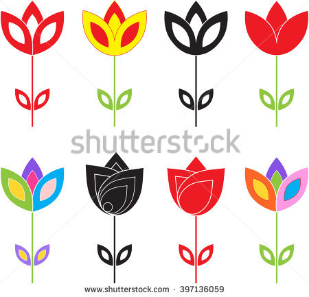 Graphic flower vector vector black and white library Flower Icon Side View Set Vector Stock Vector 593837003 - Shutterstock vector black and white library