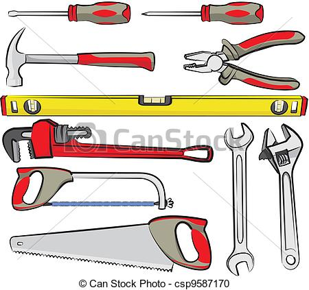 Graphic of tools clipart graphic black and white download Vector Clipart of hand tools - do it yourself - hand tools for ... graphic black and white download