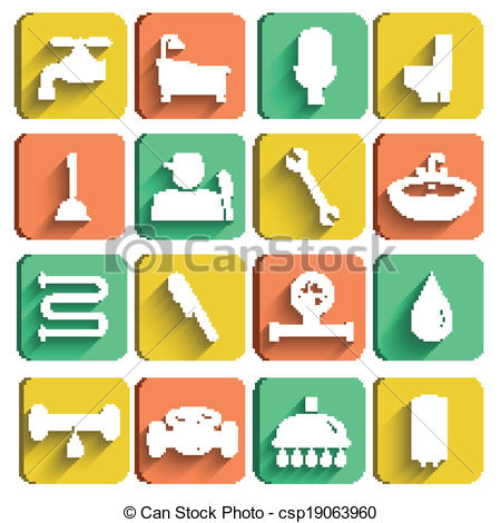 Graphic of tools clipart graphic library Clip Art Vector of Plumbing Tools Icons Set - Plumbing tools icons ... graphic library