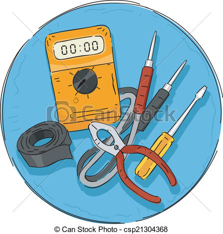Graphic of tools clipart image free download Clip Art Vector of Electrical Tools Icon - Illustration Featuring ... image free download