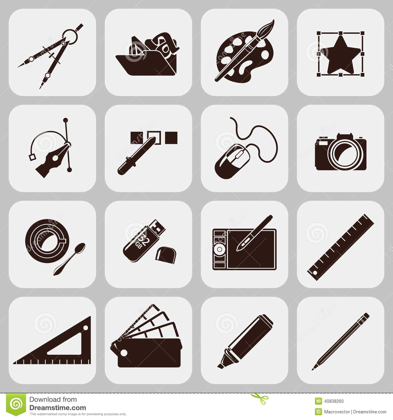 Graphic of tools clipart clip free download Designer Tools Black Icons Stock Vector - Image: 40838260 clip free download