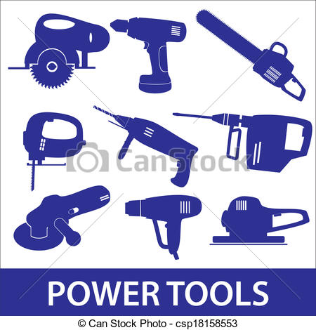 Graphic of tools clipart picture freeuse Clipart Vector of power tools icon set eps10 csp18158553 - Search ... picture freeuse