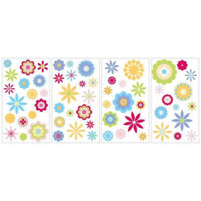Graphic pictures of flowers vector black and white 18 in. x 40 in. Graphic Flowers 61-Piece Peel and Stick Wall ... vector black and white