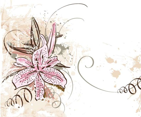 Graphics floral clipart black and white library Lily with Grunge Floral Background Vector Graphic | Free Vector ... clipart black and white library