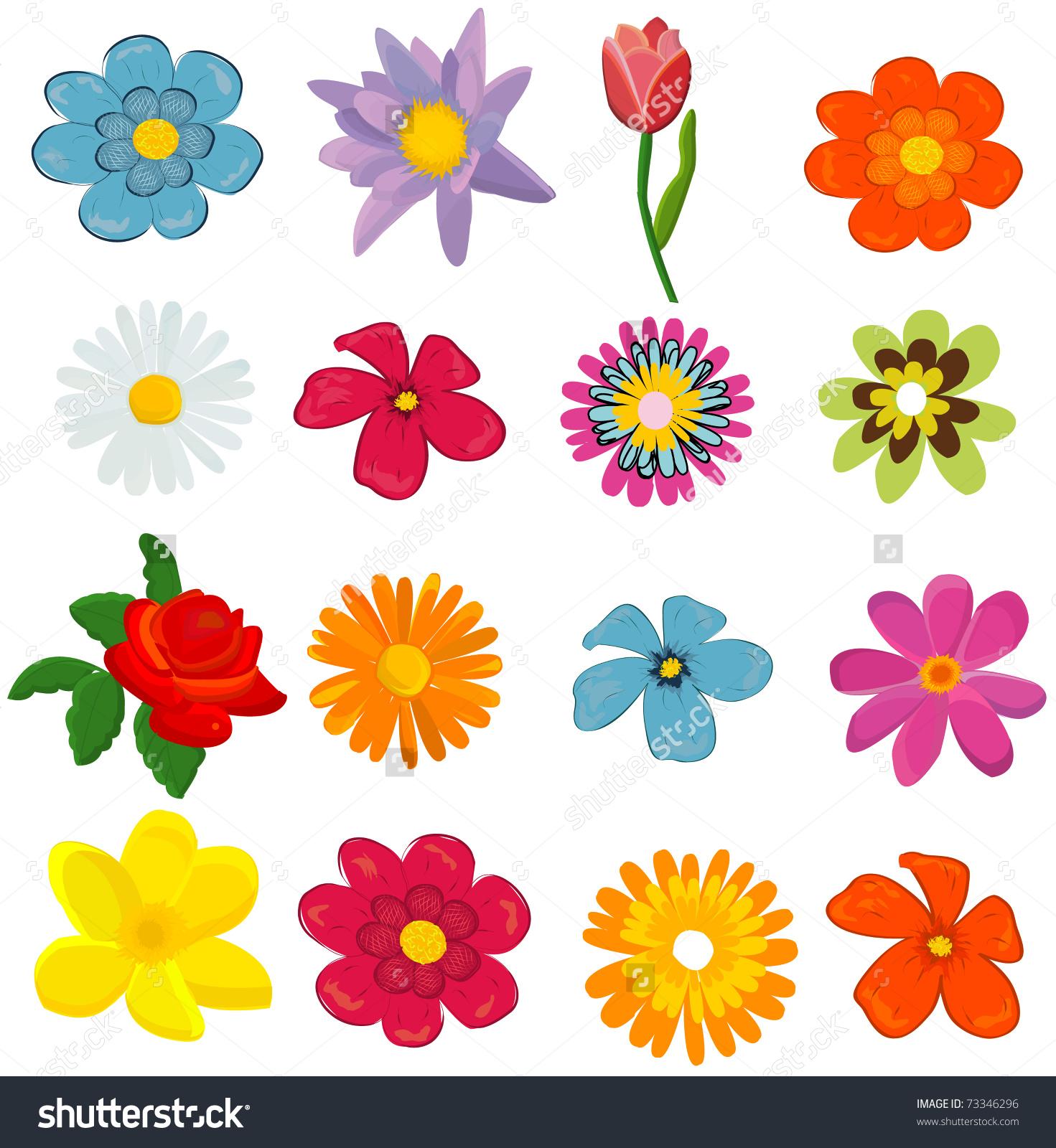 Graphics flower clipart free Set Flower Graphics Vector Stock Vector 73346296 - Shutterstock clipart free