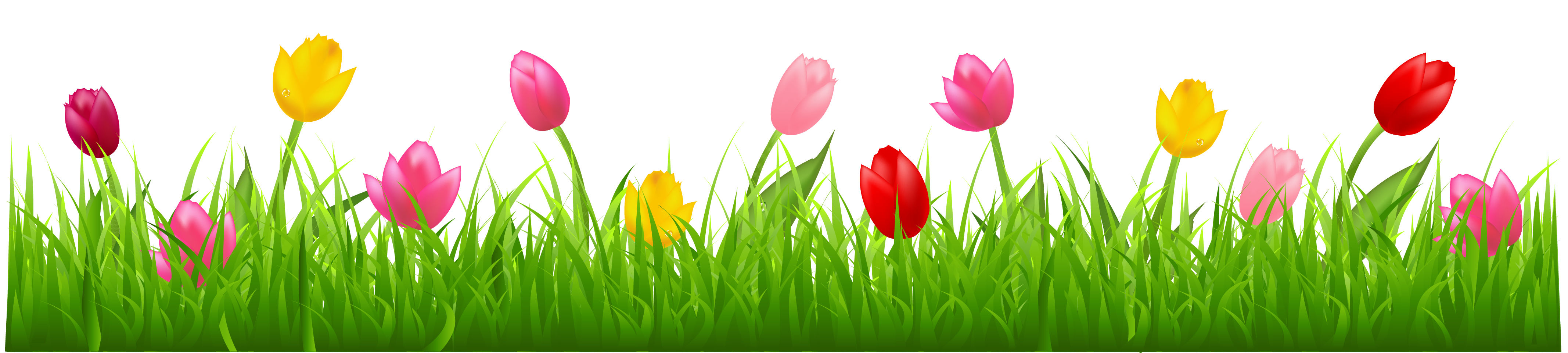 Flower and grass clipart clipart black and white stock Grass with Colorful Tulips PNG Clipart | Spring | Pinterest ... clipart black and white stock