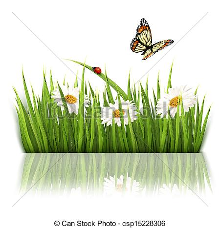 Grass and flowers clipart clipart freeuse Vector Clipart of Nature background with green grass and flowers ... clipart freeuse