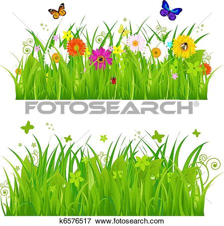 Grass graphic clipart png library Clip Art of Green Grass With Flowers And Insects k6576517 - Search ... png library