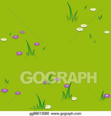 Vector Art - Seamless cartoon pattern of flowers grassy field ... svg transparent