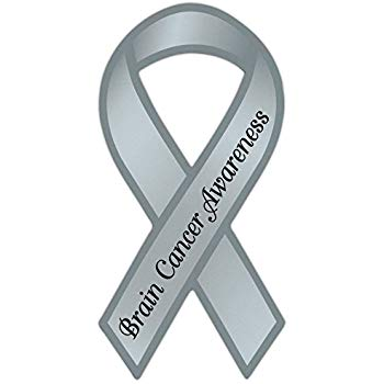 Gray cancer ribbon clipart image black and white stock Ribbon Shaped Awareness Support Magnet - Brain Cancer - Cars, Trucks,  Refrigerators image black and white stock