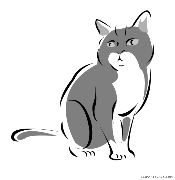 Gray cat clipart svg library stock Grey Cat Clipart - ClipartBlack.com svg library stock