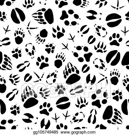 Gray deer hoof print clipart clipart free library EPS Vector - Vector animal or bird footprints seamless pattern ... clipart free library