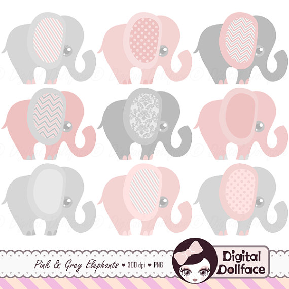 Gray elephant with hearts clipart clipart free library Pink and Grey Elephant Clipart Baby Girl Clip Art Set clipart free library